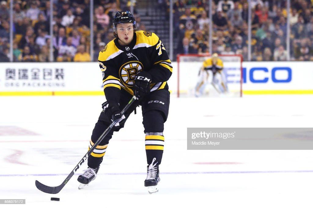 Charlie McAvoy #73 of the Boston Bruins skates against the Nashville Predators during his first regular season NHL game at TD Garden on October 5, 2017 in Boston, Massachusetts.