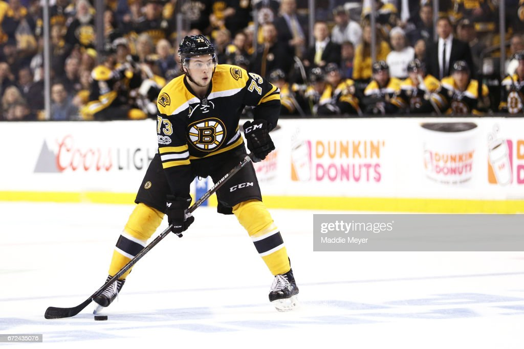 Charlie McAvoy #73 of the Boston Bruins skates against the Ottawa Senators during the first period of Game Six of the Eastern Conference First Round during the 2017 NHL Stanley Cup Playoffs at TD Garden on April 23, 2017 in Boston, Massachusetts.