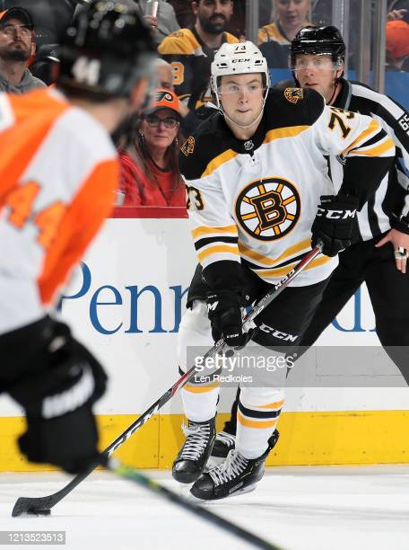 Charlie McAvoy of the Boston Bruins skates the puck against the Philadelphia Flyers on March 10 2020 at the Wells Fargo Center in Philadelphia...