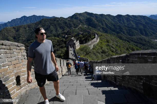 Charlie McAvoy of the Boston Bruins visits the Great Wall of China on September 16 2018 in Beijing China