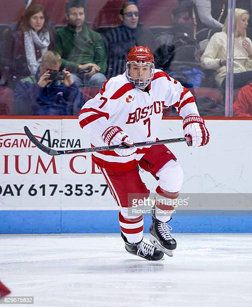 Charlie McAvoy of the Boston University Terriers skates against the Yale Bulldogs during NCAA hockey at Agganis Arena on December 13 2016 in Boston...
