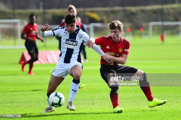 Charlie McCann of Manchester United U18s in action during the U18 Premier League match between Manchester United U18s and West Bromwich Albion U18s...