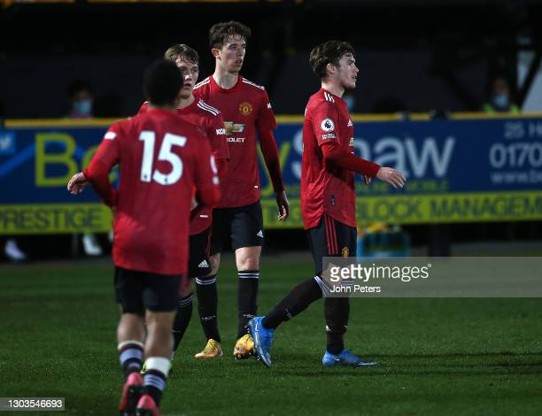 Charlie McCann of Manchester United U23s celebrates scoring their first goal during the Premier League 2 match between Everton U23s and Manchester...