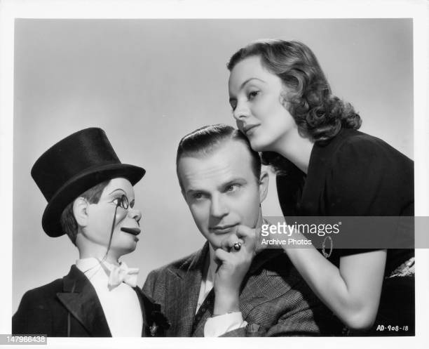 Charlie McCarthy Edgar Bergen and Andrea Leeds publicity portrait for the film 'Letter Of Introduction' 1938