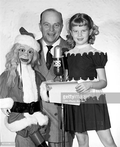 Charlie McCarthy ventriloquist Edgar Bergen and six year old Candice Bergen They get ready for a special Christmas program reading of Twas the Night...