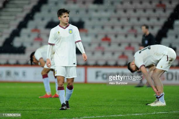 Charlie McConnachie of Aston Villa looks on as his teammates react after loosing the FA Youth Cup Fifth Round Match between AFC Bournemouth U18 and...