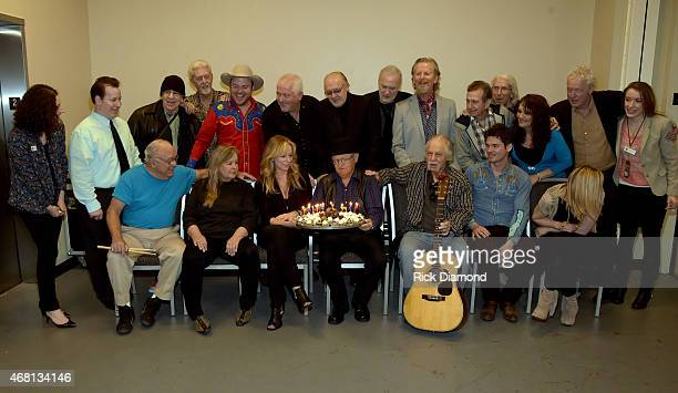 Charlie McCoy birthday with Country Music Hall of Fame and Museum's Abi Tapia Elliott Mazer Ron Cornelius Old Crow Medicine Show's Critter Fuqua Jon...