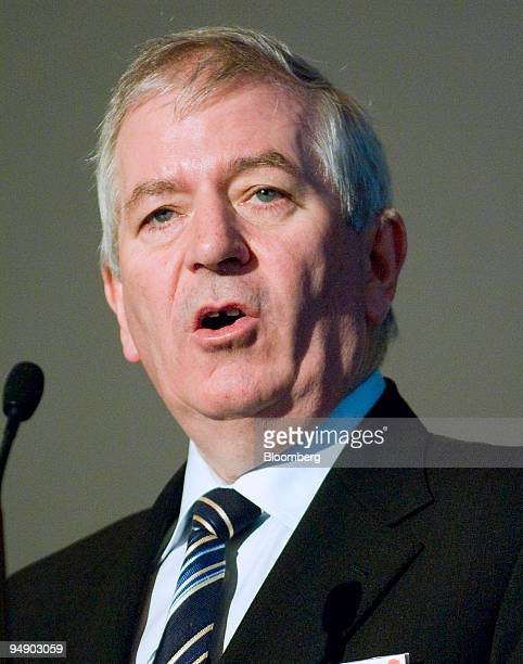 Charlie McCreevy European commissioner for internal markets and services addresses the European Financial Services Conference in Brussels Belgium on...