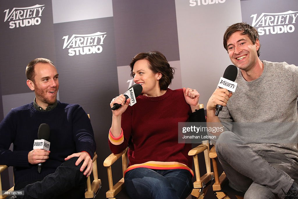Charlie McDowell, actress Elisabeth Moss, Mark Duplass attend the Variety Studio: Sundance Edition presented by Dawn Levyon January 21, 2014 in Park City, Utah.