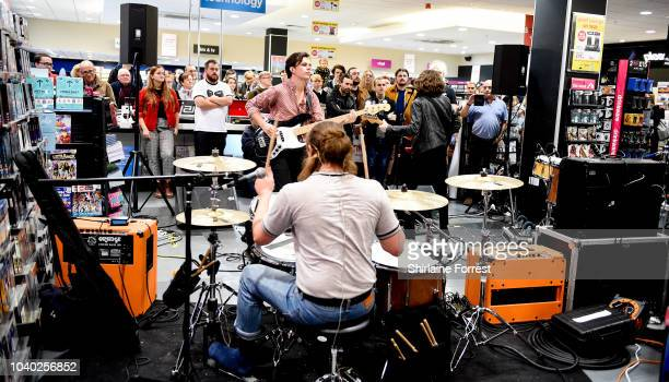 EXCLUSIVE Charlie McGough Matt Neale and Thomas Haywood of The Blinders perform live and sign copies of their album 'Columbia' at HMV Doncaster on...