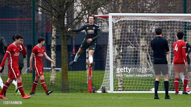 Charlie McNeill of Manchester United celebrates his goal during the U18 Premier League game between Liverpool and Manchester United at AXA Training...