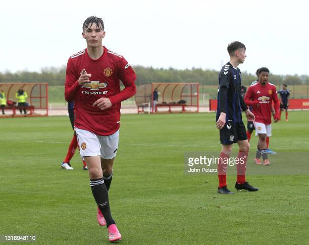 Charlie McNeill of Manchester United U18s celebrates scoring their fourth goall during the U18 Premier League match between Manchester United U18s...