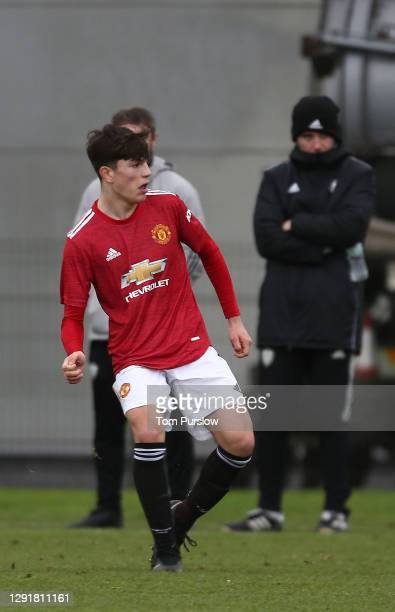 Charlie McNeill of Manchester United U18s in action during the U18 Premier League match between Manchester United U18s and Leeds United U18s at Aon...