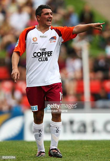 Charlie Miller of the Roar gestures during the round ten A-League match between the Newcastle Jets and the Queensland Roar at EnergyAustralia Stadium...