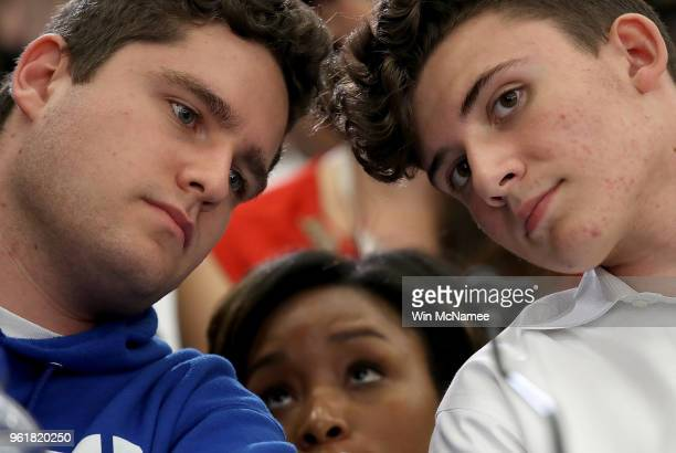 Charlie Mirsky and Alfonso Calderson students at Stoneman Douglas High School in Parkland Florida confer during a forum with the Gun Violence Task...