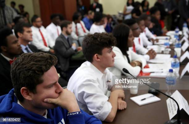 Charlie Mirsky and Alfonso Calderson students at Stoneman Douglas High School in Parkland Florida join with students from across the nation at a...