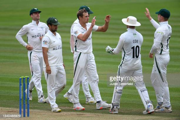 Charlie Morris of Worcestershire celebrates taking the wicket of Toby Roland-jones of Middlesex during the LV= Insurance County Championship match...