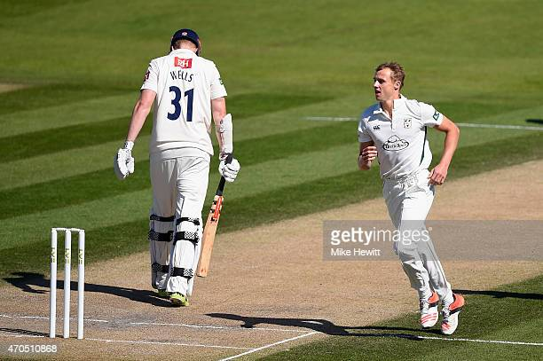 Charlie Morris of Worcestershire celebrates the wicket of Luke Wells of Sussex, caught at 1st slip by Alex Gidman during Day 3 of the LV County...