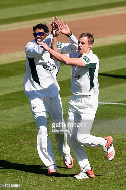 Charlie Morris of Worcestershire celebrates the wicket of Luke Wells with team mate Sachithra Senanayake during Day 3 of the LV County Championship...