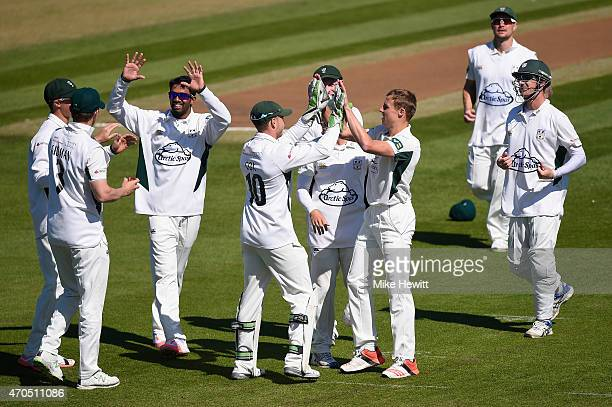 Charlie Morris of Worcestershire celebrates the wicket of Luke Wells with team mates during Day 3 of the LV County Championship match between Sussex...