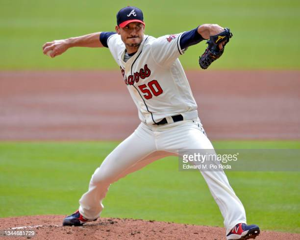 Charlie Morton of the Atlanta Braves pitches in the first inning against the New York Mets at Truist Park on October 3, 2021 in Atlanta, Georgia.