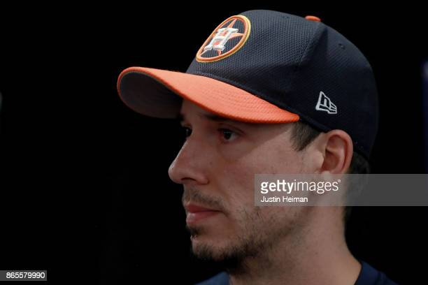 Charlie Morton of the Houston Astros answers questions from the media ahead of the World Series at Dodger Stadium on October 23 2017 in Los Angeles...