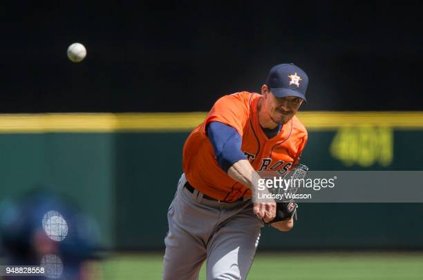 Charlie Morton of the Houston Astros delivers in the first inning against the Seattle Mariners at Safeco Field on April 19 2018 in Seattle Washington