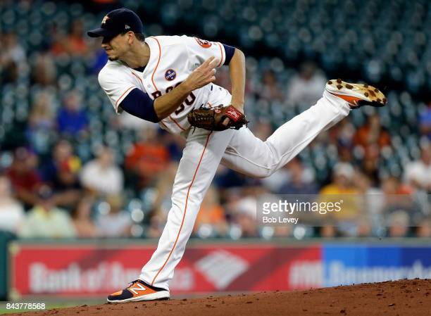 Charlie Morton of the Houston Astros pitches against the New York Mets at Minute Maid Park on September 2 2017 in Houston Texas