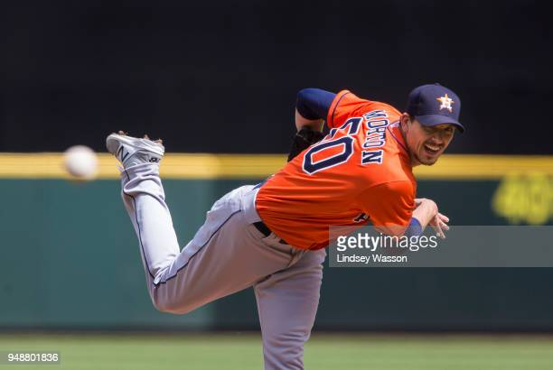 Charlie Morton of the Houston Astros pitches against the Seattle Mariners in the first inning at Safeco Field on April 19 2018 in Seattle Washington