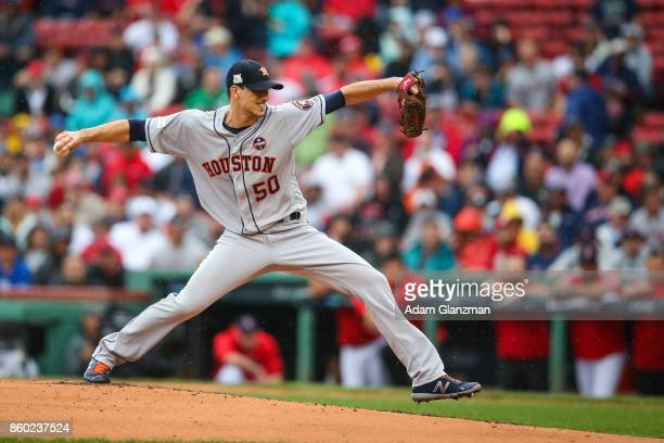 Charlie Morton of the Houston Astros pitches during Game 4 of the American League Division Series against the Boston Red Sox at Fenway Park on Monday...