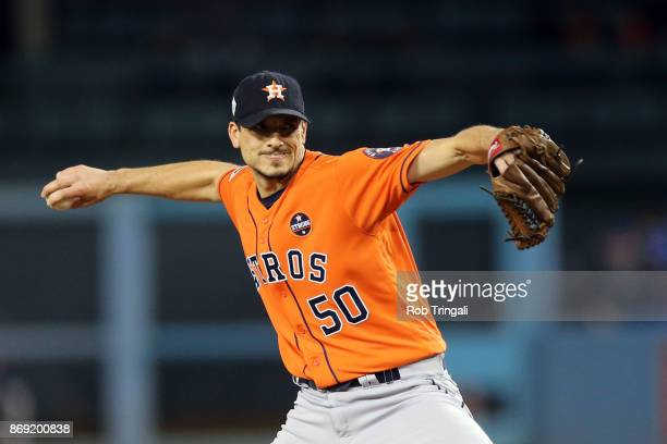 Charlie Morton of the Houston Astros pitches during Game 7 of the 2017 World Series against the Los Angeles Dodgers at Dodger Stadium on Wednesday...