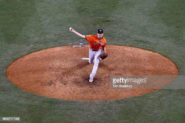 Charlie Morton of the Houston Astros pitches during the ninth inning against the Los Angeles Dodgers in game seven of the 2017 World Series at Dodger...