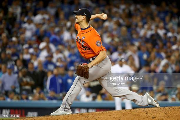 Charlie Morton of the Houston Astros pitches in the eighth inning against the Los Angeles Dodgers in game seven of the 2017 World Series at Dodger...