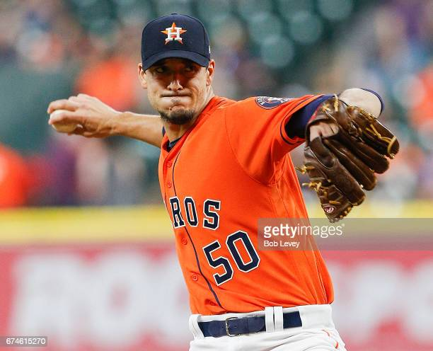 Charlie Morton of the Houston Astros pitches in the first inning against the Oakland Athletics at Minute Maid Park on April 28 2017 in Houston Texas