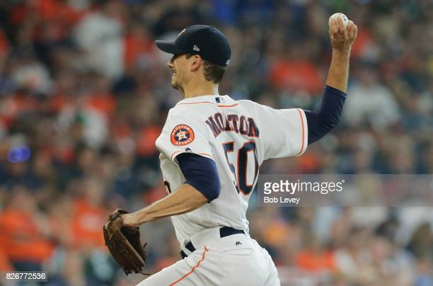 Charlie Morton of the Houston Astros pitches in the first inning against the Toronto Blue Jays at Minute Maid Park on August 5 2017 in Houston Texas