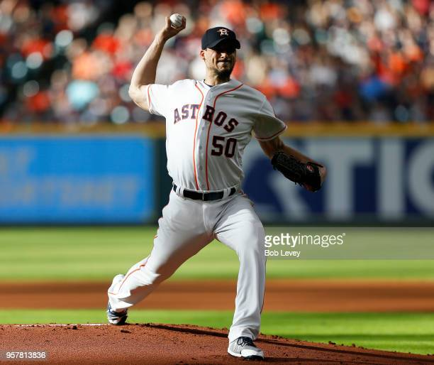 Charlie Morton of the Houston Astros pitches in the first inning against the Texas Rangers at Minute Maid Park on May 12 2018 in Houston Texas