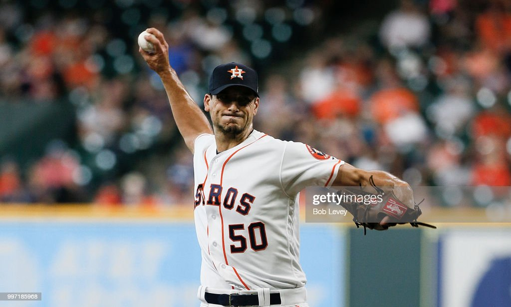 Charlie Morton #50 of the Houston Astros pitches in the first inning against the Oakland Athletics at Minute Maid Park on July 12, 2018 in Houston, Texas.