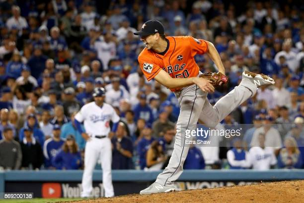 Charlie Morton of the Houston Astros pitches in the ninth inning against Los Angeles Dodgers in game seven of the 2017 World Series at Dodger Stadium...