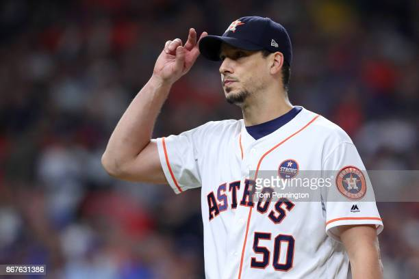 Charlie Morton of the Houston Astros reacts as he exits the game during the seventh inning against the Los Angeles Dodgers in game four of the 2017...
