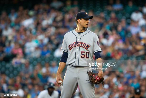 Charlie Morton of the Houston Astros sets himself on the mound to pitch in the third inning against the Seattle Mariners at Safeco Field on July 31...