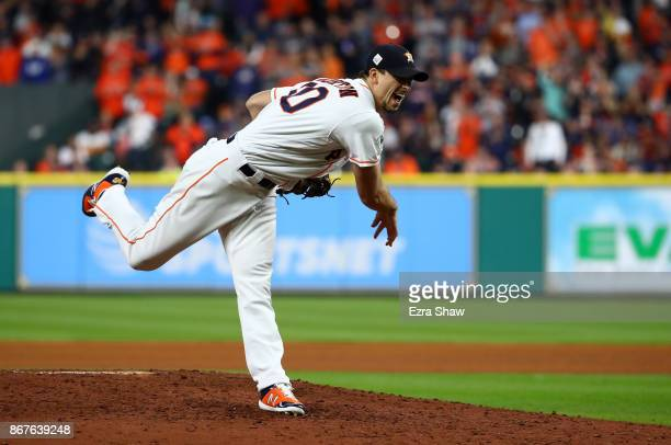 Charlie Morton of the Houston Astros throws a pitch against the Los Angeles Dodgers in game four of the 2017 World Series at Minute Maid Park on...