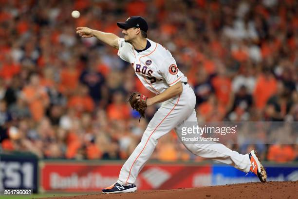 Charlie Morton of the Houston Astros throws a pitch against the New York Yankees during the first inning in Game Seven of the American League...