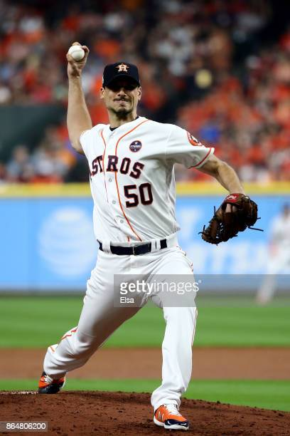Charlie Morton of the Houston Astros throws a pitch against the New York Yankees during the second inning in Game Seven of the American League...