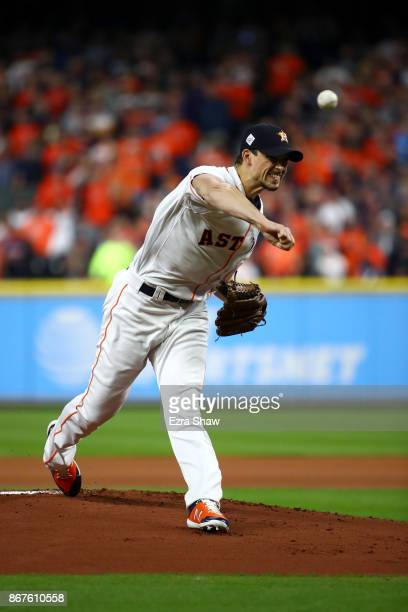 Charlie Morton of the Houston Astros throws a pitch during the first inning against the Los Angeles Dodgers in game four of the 2017 World Series at...
