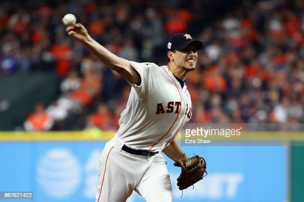 Charlie Morton of the Houston Astros throws a pitch during the fourth inning against the Los Angeles Dodgers in game four of the 2017 World Series at...