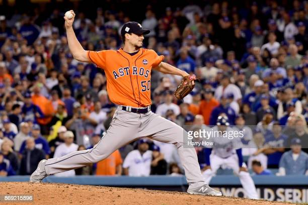 Charlie Morton of the Houston Astros throws a pitch during the ninth inning against the Los Angeles Dodgers in game seven of the 2017 World Series at...