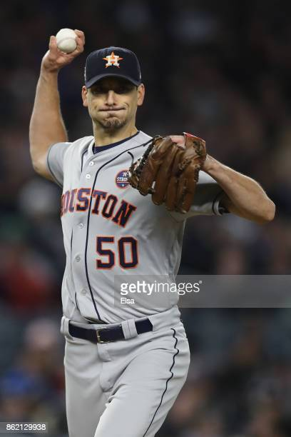 Charlie Morton of the Houston Astros throws to first picking off Didi Gregorius of the New York Yankees to end the first inning in Game Three of the...