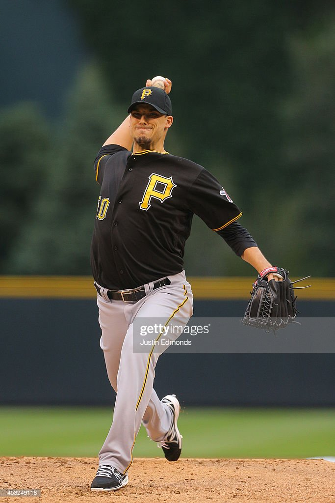 Charlie Morton #50 of the Pittsburgh Pirates pitches against the Colorado Rockies at Coors Field on July 25, 2014 in Denver, Colorado.