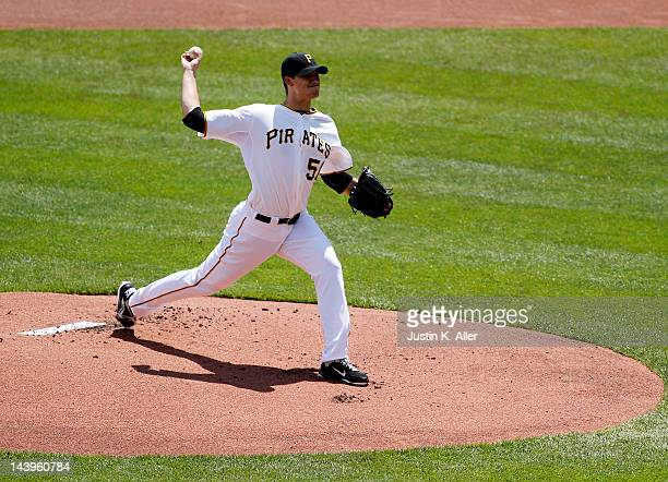 Charlie Morton of the Pittsburgh Pirates pitches against the Cincinnati Reds during the game on May 6 2012 at PNC Park in Pittsburgh Pennsylvania