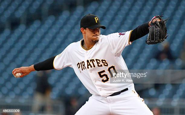 Charlie Morton of the Pittsburgh Pirates pitches in the first inning against the Cincinnati Reds during the game at PNC Park April 23 2014 in...